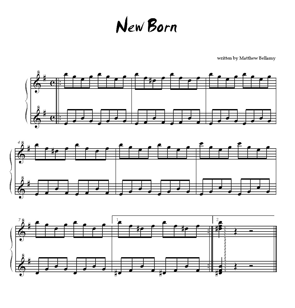 partition piano muse new born